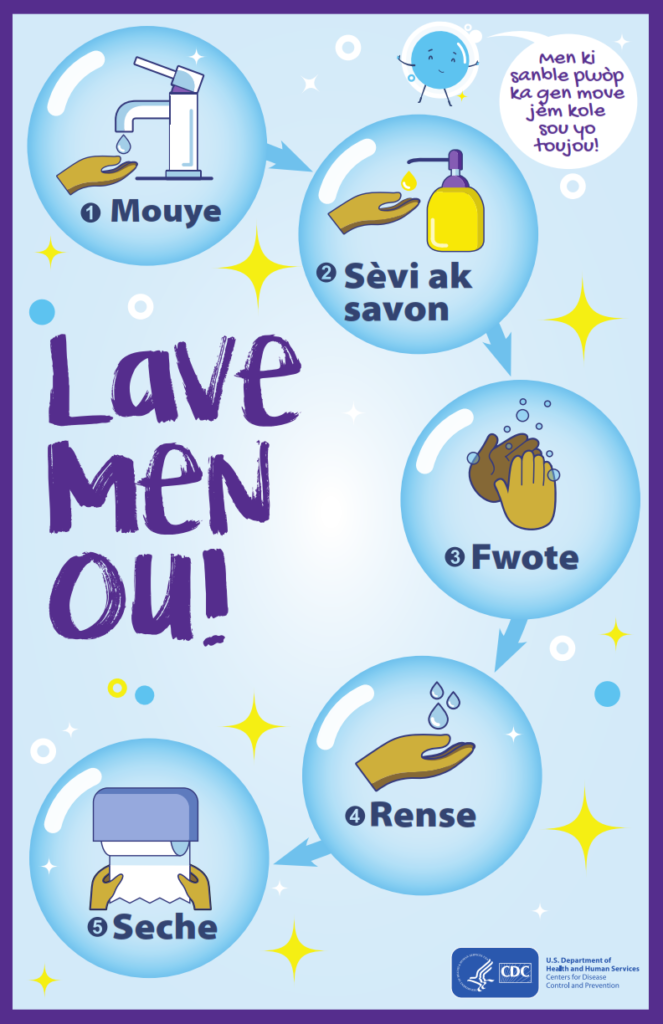 Wash Your Hands Poster in Haitian Creole